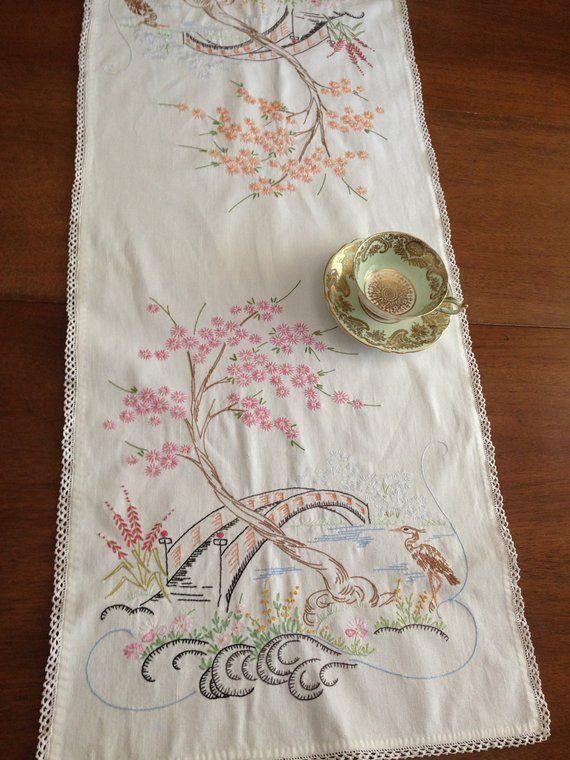 Vintage Linen Dresser Scarf Table Runner Crochet Edging