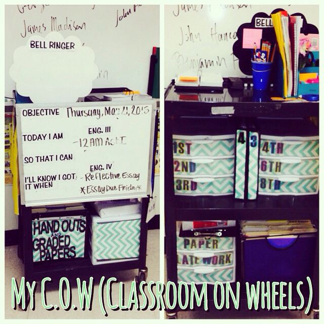 For every floater teacher, here is my cow (classroom on wheels).  #floater #cart