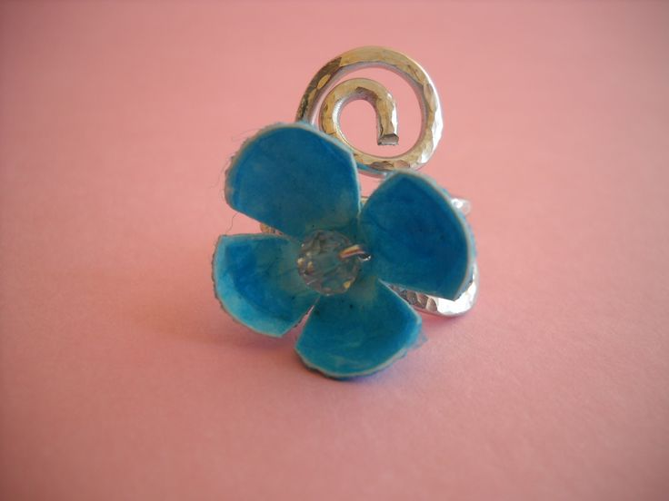 Handmade aluminium wire ring with blue silk cocoon.