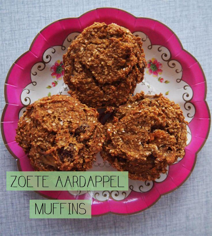 Een recept voor zoete aardappel muffins.