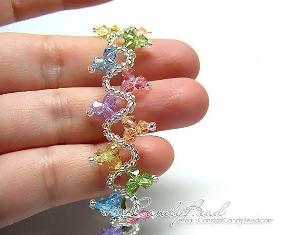 Pulseras de cristal Swarovski ola dulce arco iris por candybead