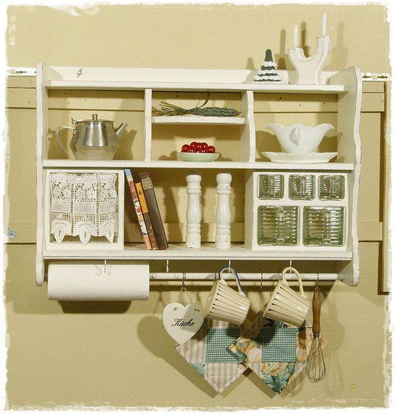 wandregal tellerregal k chenregal shabbychic shabby. Black Bedroom Furniture Sets. Home Design Ideas