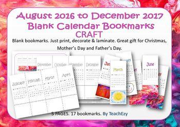 Bookmark Calendars - Blank for adding own design