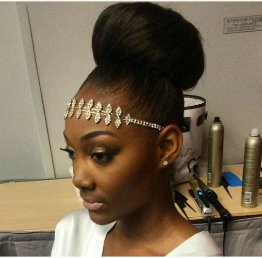 High Bun W Glamorous Headband Natural Hair Styles