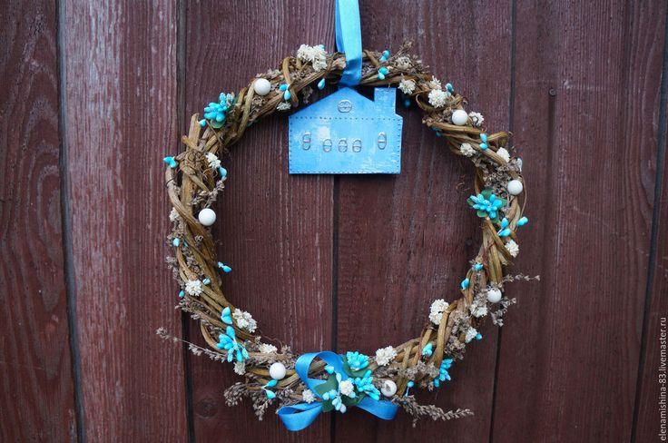"""Купить Венок из лозы винограда """"Голубые мечты"""" декор дома - комбинированный, венок на дверь"""
