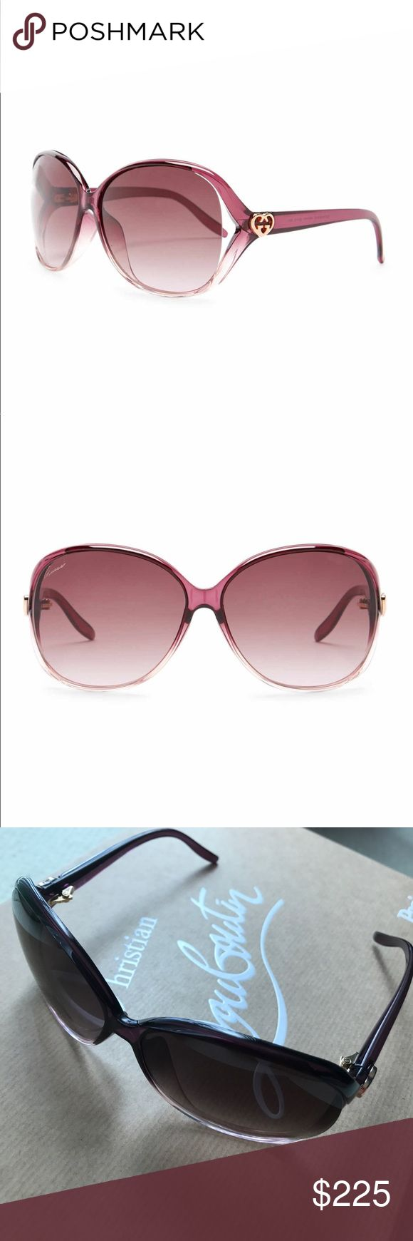 Authentic Brand New GUCCI Sunglasses Brand New Gucci Sunglasses with Authenticity Card. Purchased from Nordstrom. 63-16-140 mm. Retail $390 before tax. So chic and classic! Dark violet! Stunning! Mint condition. Misplaced case but I'll be running to Gucci to ask for a new one. Price is WITHOUT CASE. No trades! Appears a lot DARKER in person than in stock photos. Gucci Accessories Sunglasses