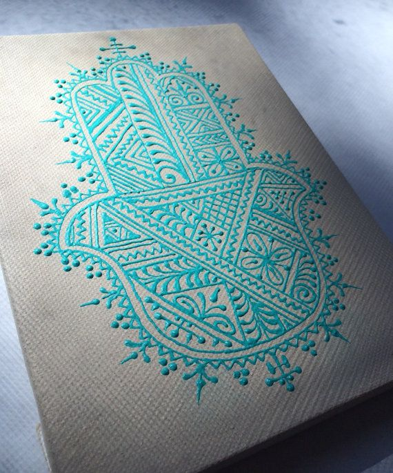 Henna Style Hand Painted Canvas with Hamsa and Lotus design