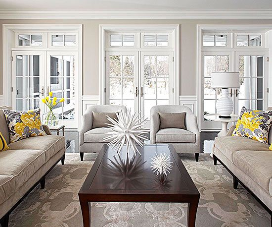 Neutral Dove Grey / Light Taupe Living Room with Yellow accents and focal area rug