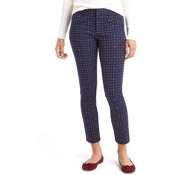 Gap Women Bi Stretch Skinny Ankle Pants ($23) ❤ liked on Polyvore featuring pants, capris, blue, regular, white skinny pants, petite skinny pants, petite pants, blue pants and blue skinny pants