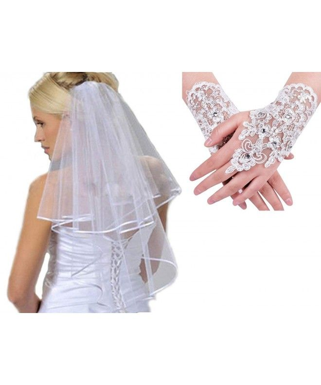 Bridal Accessories 2 layers Ribbon Edge Wedding Veil with Comb - White With  Gloves - CJ18CECWW9N | Bridal accessories, Wedding veil, Bridal