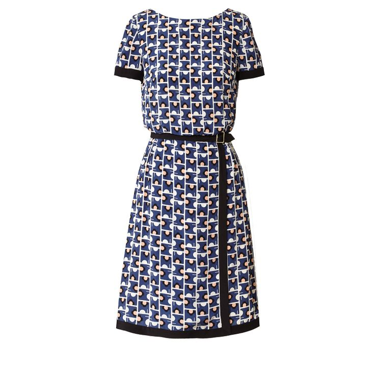 Orla Kiely: Short sleeved dress in silk crepe de chine fabric in 'Elephant Maze' print. This dress comes in print with contrasting black bands on sleeve edge, waistband and around skirt edges. This dress has a fitted waistband and the bodice is looser so gently blousons at the waist. The skirt has a faux wrap over detail, with fake gold buckle feature at waist. Fully lined. Zip in centre back to fasten.    Length: 36.8in (center back)