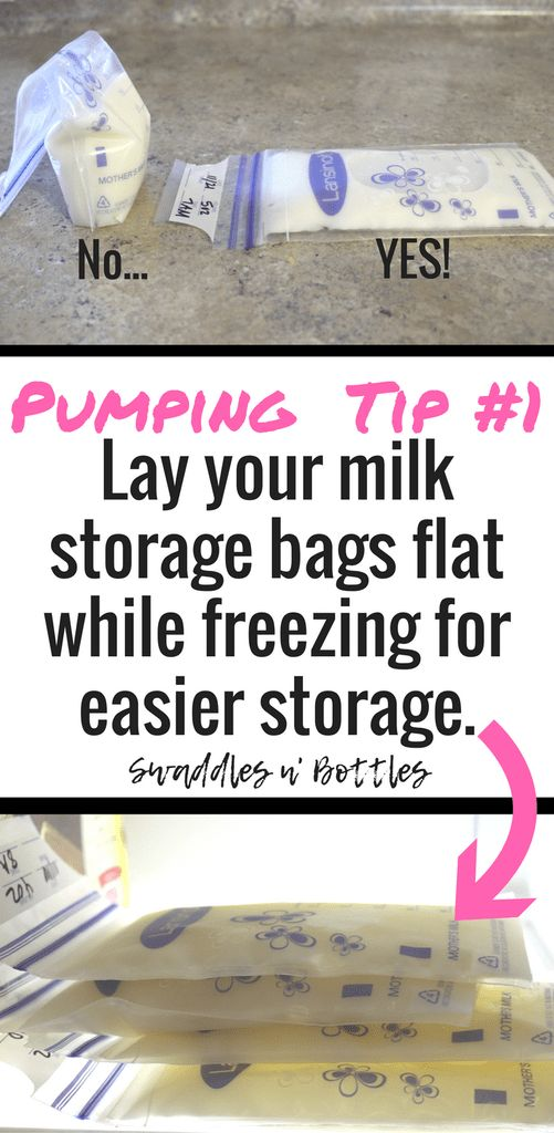 Pumping Tip 1- freeze your milk storage bags flat for easier long term storage
