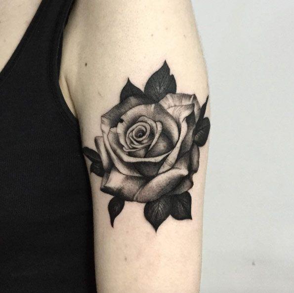 Blackwork Rose Tattoo by Daria Stahp