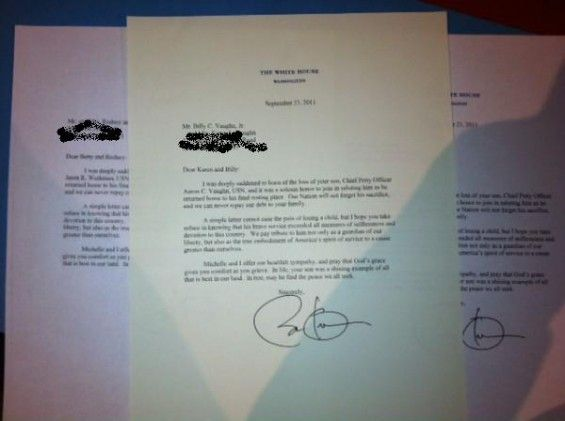 Obama honors all those 17 members of the Seal team (that I believe their deaths were questionable anyway) by sending a FORM LETTER with and ELECTRONIC SIGNATURE on them. Didn't noncaring President Bush visit with every family that had a loved one die? I hate this poor excuse for a human being that has annointed himself our king.