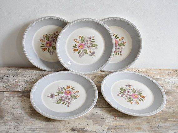 Norwegian Figgjo Flint side plates, set of five, floral, grey and white design, 1960's vintage plates.