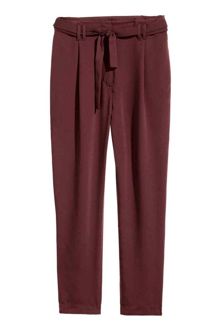 Trousers with a tie belt - Burgundy - Ladies | H&M
