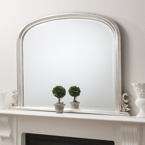 "Gallery Direct Thornby Silver Over-Mantel Mirror 47""x37"""