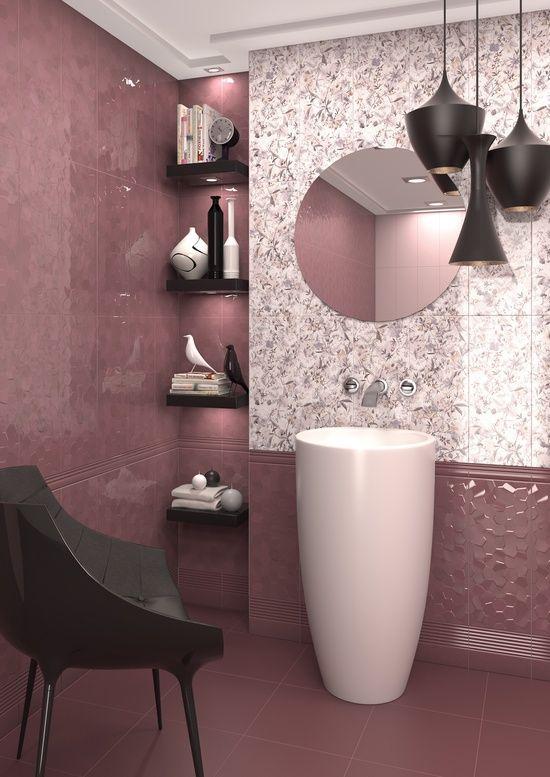 Rosa chá escuro, preto e branco - composição perfeita neste lavabo.  Inspire-se!