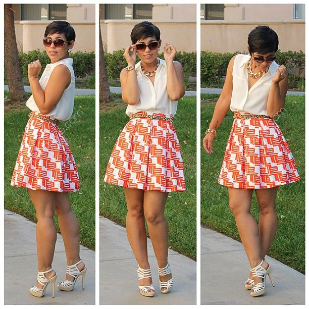 I like how she pairs this skirt & Top