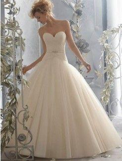 Ball Gown Sweetheart Neckline Brush Train Organza Bridal Dress With Belt