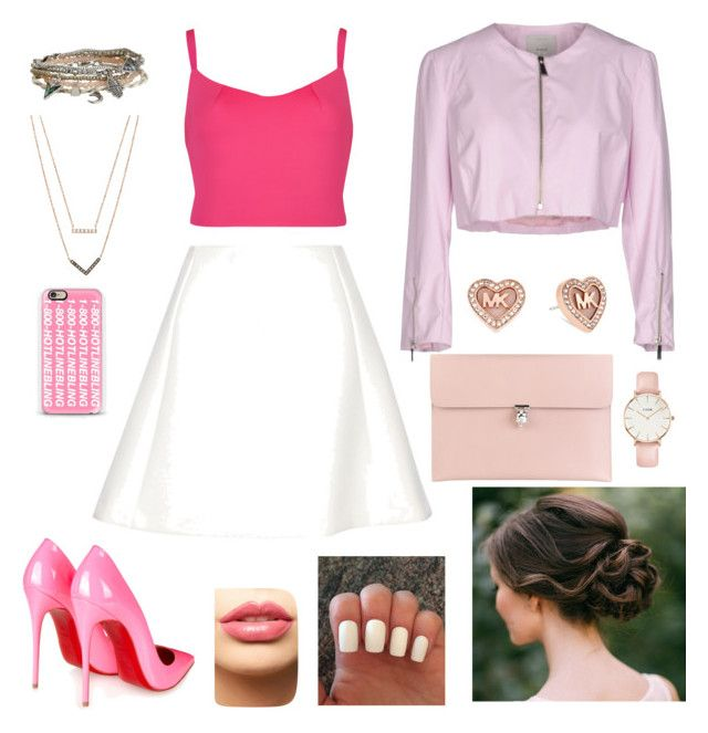 """""""all about pink"""" by nabillarzkynt on Polyvore featuring Ted Baker, Neil Barrett, Pinko Tag, Aéropostale, Michael Kors, LASplash, Casetify, Christian Louboutin, Alexander McQueen and CLUSE"""