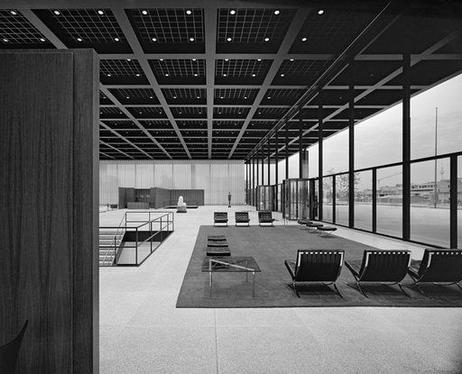 Mies: Neue Nationalgalerie: 1968. 1 point perspective. Black and white.