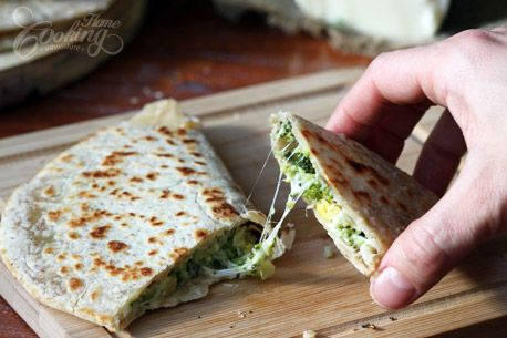Broccoli Quesadillas :: Home Cooking Adventure. I substitute cooked ...