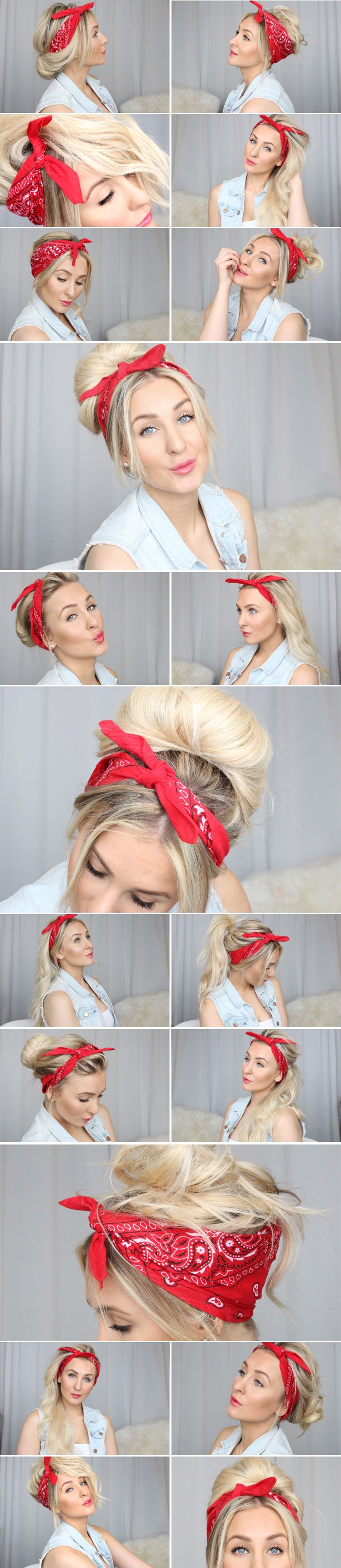 How To Use A Bandana For Your Hair hair long hair diy hair hairstyles bandana ha…