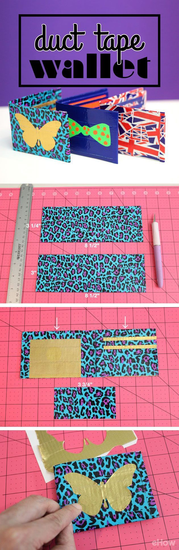 This duct tape wallet tutorial shows you just how easy it is to DIY your own. The colors and designs are endless. Such a fun project! http://www.ehow.com/how_2314612_make-duct-tape-wallets.html?utm_source=pinterest.com&utm_medium=referral&utm_content=inline&utm_campaign=fanpage