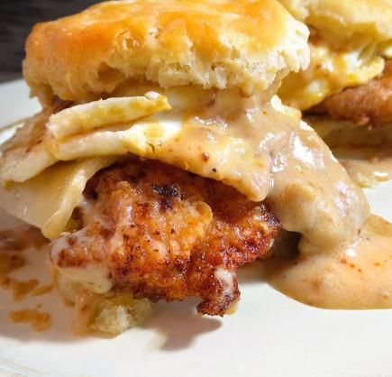 Cajun-Fried Wild Turkey Biscuits and Gravy Sandwich | Realtree