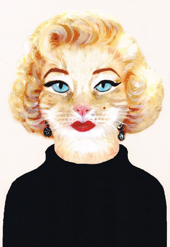 Marilyn Monroe Cat Art Print Illustration Acrylic by bobogalerie, $15.00