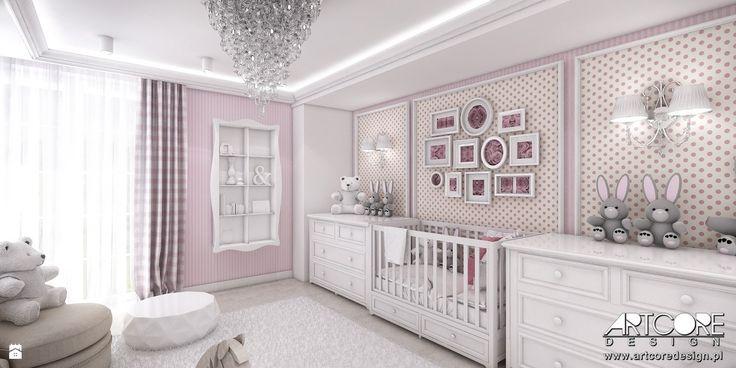 Pokój niemowlęcy dla dziewczynki. - zdjęcie od ArtCore Design - Pokój dziecka - Styl Glamour - ArtCore Design