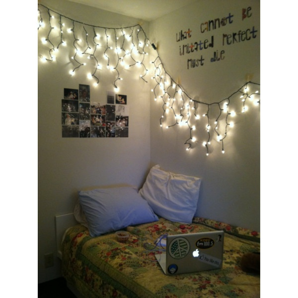 hipster room   Tumblr ❤ liked on Polyvore-- bulb lights instead, and colored pillows and more on the walls