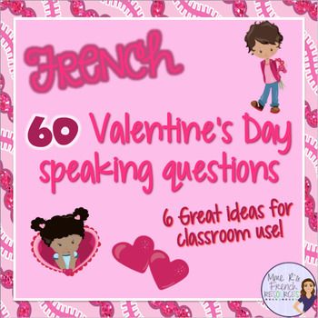 Want to get your French students using their Valentine's Day vocabulary? Need help with a fun way to practice speaking?This NO PREP activity is always a favorite in my class.It can be used after learning specific vocabulary or as a fun interactive activity on a day when you need to change it up!There are 60 questions in all, and you'll get questions in varying difficulty, so this is a perfect resource if you teach multiple levels, because you can mix the cards up to meet the need of…