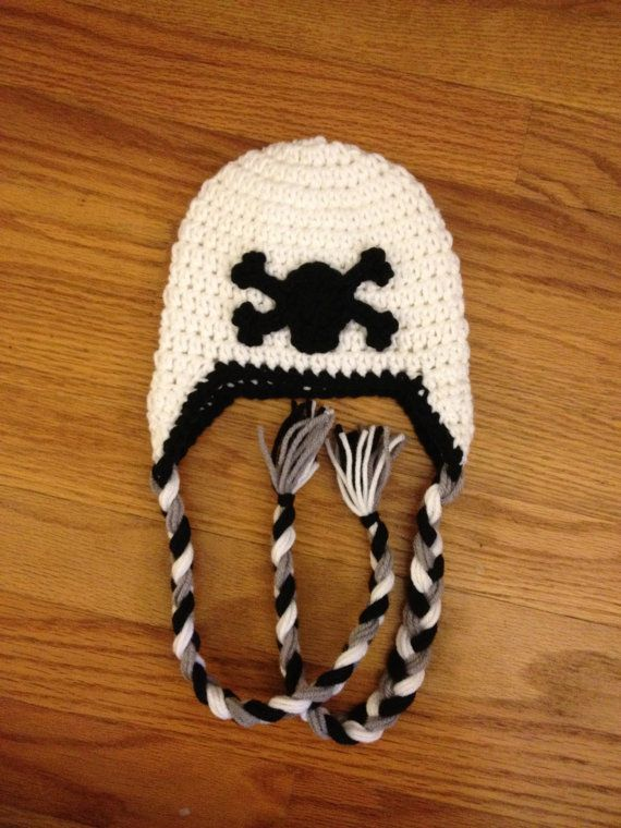 Skull and Crossbones Baby Newborn Punk Rock Hat With by beaniebird, $15.00