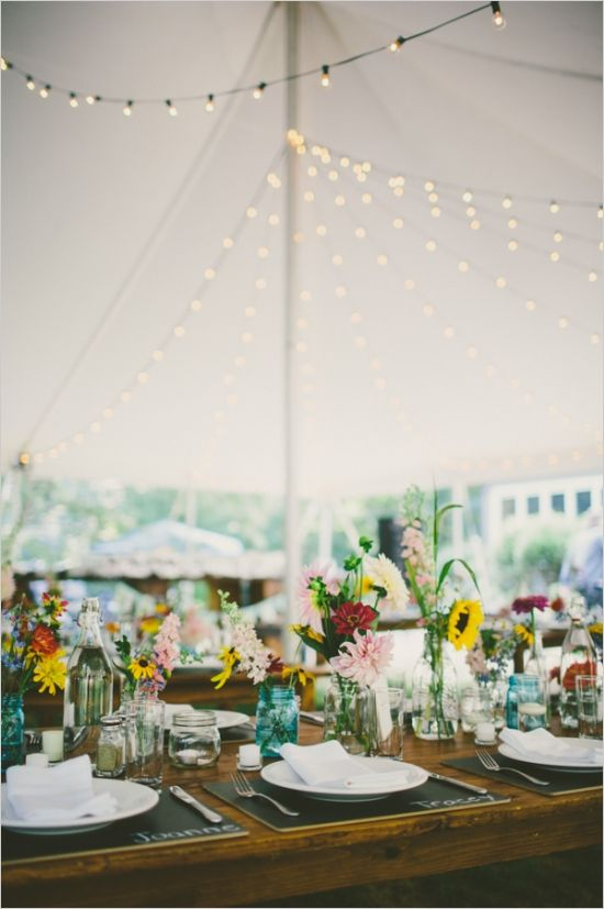 tent wedding reception love lots of this! BBQ, twinkle lights, chalkboards