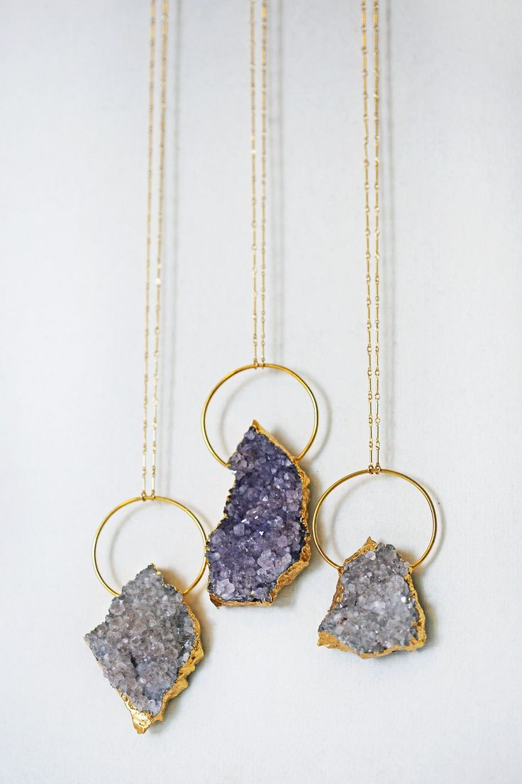 amethyst cluster RING necklace