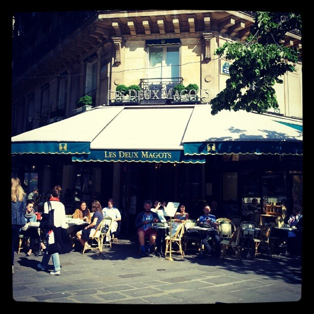 Les Deux Magots- cafe perfect for people watching. Former haunt of Simone de Beauvoir, Ernest Hemingway, Albert Camus, Pablo Picasso, Oscar Wilde, and more.