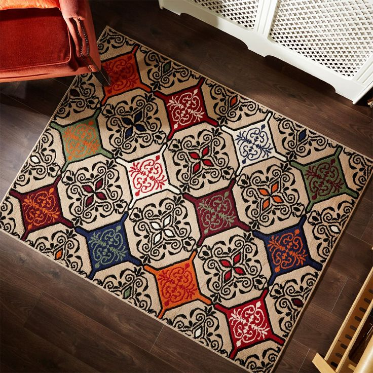 Just Contempo Moroccan Inspired Mosaic Floor Carpet Rug Mat Modern Retro Design 120x160cm