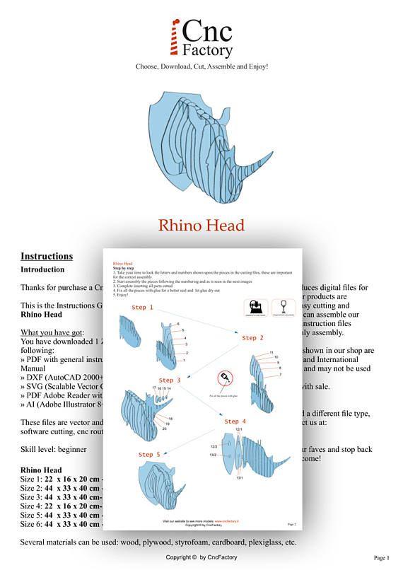 CABEZA de rinoceronte plantilla de caza Trofeo corte