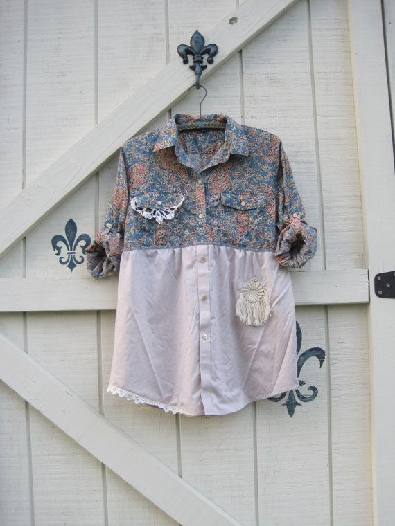 Boho top, cottage chic, L bohemian tunic, casual tunic, rustic romantic, Blue floral, upcycled clothing by Shaby Vintage