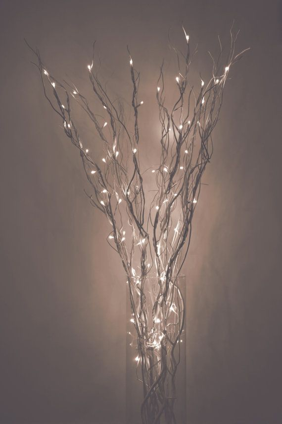 LED Lighted Silver Branches Curly Willow by WillowsAndMore on Etsy