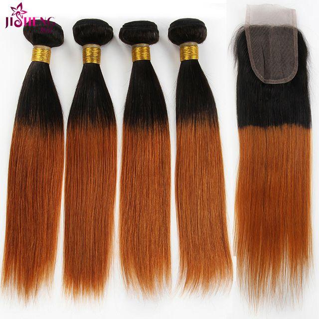 7aオンブル処女ブラジルストレートヘア4バンドルで閉鎖1b/30ブロンド人間の髪織りオンブルブラジル髪閉鎖が付いている