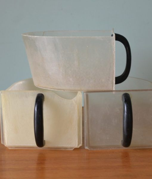 Vintage plastic storage containers scoops drawers