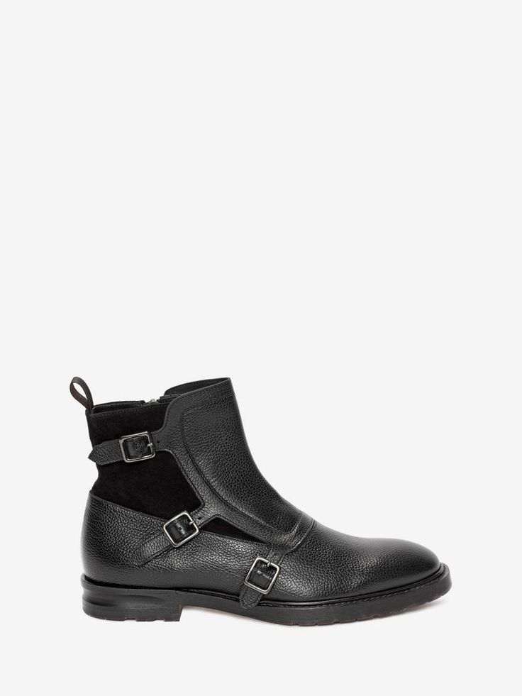 Suede And Grained-Leather Monk-Strap Boots, Black
