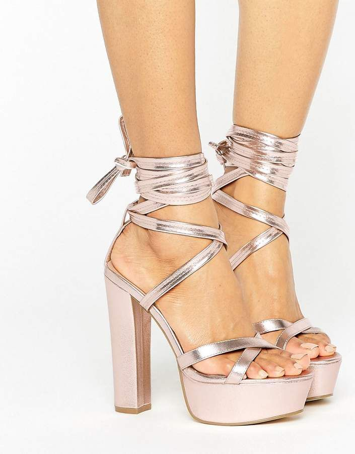 58be5c7552c Truffle Collection Tie Ankle Platform Heeled Sandals