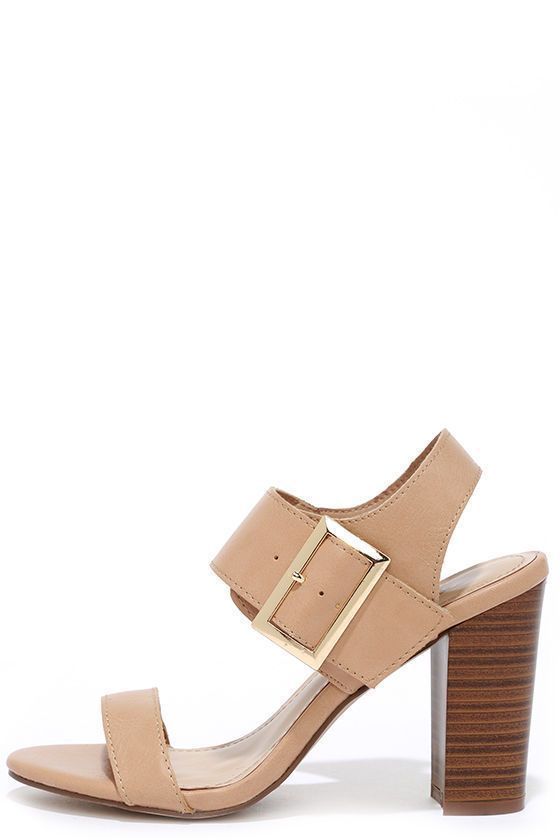 5d65be538ff Stop  em right in their tracks with the minimal-chic look of the Thrill the  Messenger Natural High Heel Sandals! These vegan-lea…