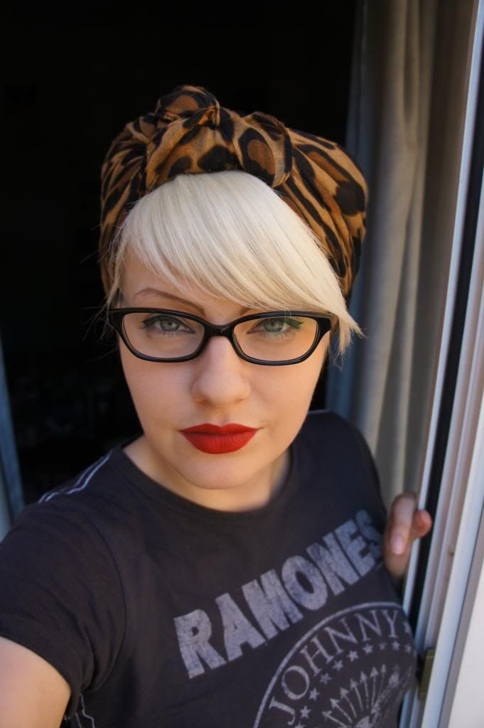 MUST get Leopard Scarf.  Platinum blonde pinup hair