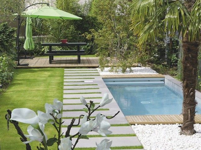pool in a small garden that does not take up all the space, but big enough to be effective