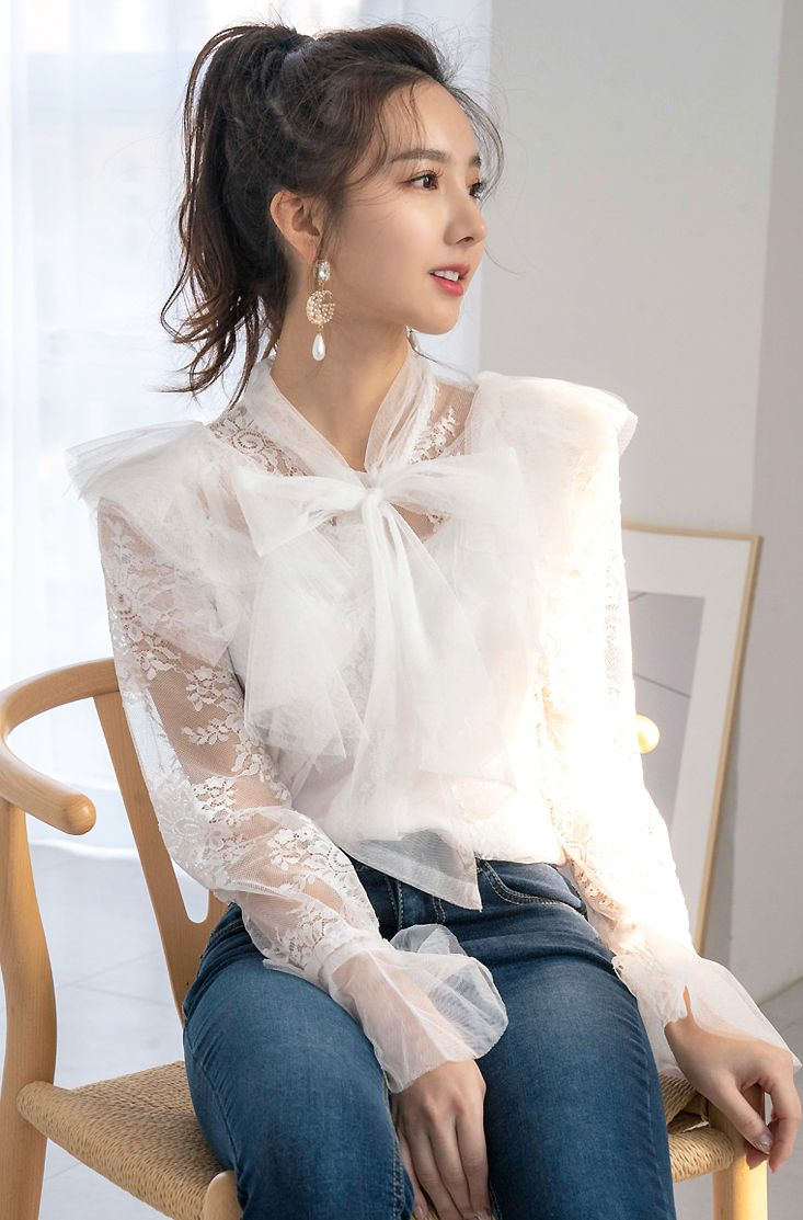 Sheer Tie-Neck Lace Blouse CHLO.D.MANON  #ivory #lace #blouse